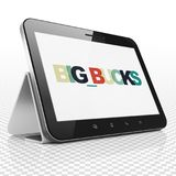 Finance concept: Tablet Computer with Big bucks on  display. Finance concept: Tablet Computer with Painted multicolor text Big bucks on display, 3D rendering Royalty Free Stock Photos