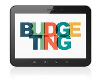 Finance concept: Tablet Computer with Budgeting on  display. Finance concept: Tablet Computer with Painted multicolor text Budgeting on display, 3D rendering Stock Image