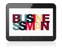 Finance concept: Tablet Computer with Businessman on  display. Finance concept: Tablet Computer with Painted multicolor text Businessman on display, 3D rendering Royalty Free Stock Photos