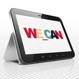 Finance concept: Tablet Computer with We can! on  display. Finance concept: Tablet Computer with Painted multicolor text We can! on display, 3D rendering Royalty Free Stock Photos