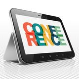 Finance concept: Tablet Computer with Conference on  display. Finance concept: Tablet Computer with Painted multicolor text Conference on display, 3D rendering Royalty Free Stock Images
