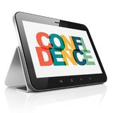Finance concept: Tablet Computer with Confidence on  display. Finance concept: Tablet Computer with Painted multicolor text Confidence on display, 3D rendering Stock Photo