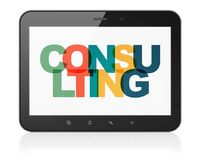 Finance concept: Tablet Computer with Consulting on  display. Finance concept: Tablet Computer with Painted multicolor text Consulting on display, 3D rendering Royalty Free Stock Image