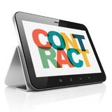 Finance concept: Tablet Computer with Contract on  display. Finance concept: Tablet Computer with Painted multicolor text Contract on display, 3D rendering Stock Photos