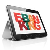 Finance concept: Tablet Computer with E-Banking on  display. Finance concept: Tablet Computer with Painted multicolor text E-Banking on display, 3D rendering Royalty Free Stock Photo