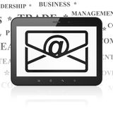 Finance concept: Tablet Computer with Email on display. Finance concept: Tablet Computer with  black Email icon on display,  Tag Cloud background, 3D rendering Royalty Free Stock Photo