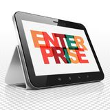 Finance concept: Tablet Computer with Enterprise on  display. Finance concept: Tablet Computer with Painted multicolor text Enterprise on display, 3D rendering Stock Image