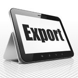 Finance concept: Tablet Computer with Export on display. Finance concept: Tablet Computer with black text Export on display, 3D rendering Stock Images