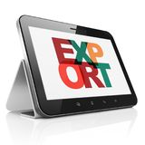 Finance concept: Tablet Computer with Export on  display. Finance concept: Tablet Computer with Painted multicolor text Export on display, 3D rendering Royalty Free Stock Photos