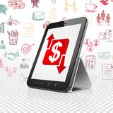 Finance concept: Tablet Computer with Finance on display. Finance concept: Tablet Computer with  red Finance icon on display,  Hand Drawn Business Icons Stock Photos