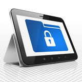 Finance concept: Tablet Computer with Folder With. Finance concept: Tablet Computer with blue Folder With Lock icon on display Stock Photos
