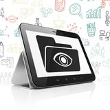 Finance concept: Tablet Computer with Folder With Eye on display. Finance concept: Tablet Computer with  black Folder With Eye icon on display,  Hand Drawn Royalty Free Stock Photography