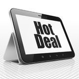Finance concept: Tablet Computer with Hot Deal on display. Finance concept: Tablet Computer with black text Hot Deal on display, 3D rendering Stock Photography