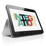 Finance concept: Tablet Computer with Integration on  display. Finance concept: Tablet Computer with Painted multicolor text Integration on display, 3D rendering Stock Photo