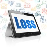 Finance concept: Tablet Computer with Loss on display. Finance concept: Tablet Computer with  blue text Loss on display,  Hand Drawn Business Icons background Royalty Free Stock Images