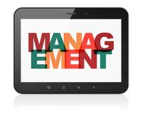 Finance concept: Tablet Computer with Management on  display. Finance concept: Tablet Computer with Painted multicolor text Management on display, 3D rendering Royalty Free Stock Photo
