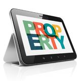 Finance concept: Tablet Computer with Property on  display. Finance concept: Tablet Computer with Painted multicolor text Property on display, 3D rendering Stock Image