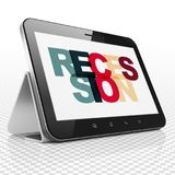 Finance concept: Tablet Computer with Recession on  display. Finance concept: Tablet Computer with Painted multicolor text Recession on display, 3D rendering Stock Image