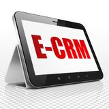 Finance concept: Tablet Computer with E-CRM on display. Finance concept: Tablet Computer with red text E-CRM on display, 3D rendering Stock Photo