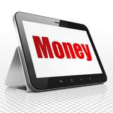 Finance concept: Tablet Computer with Money on display Stock Image