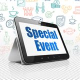 Finance concept: Tablet Computer with Special Event on display. Finance concept: Tablet Computer with  blue text Special Event on display,  Hand Drawn Business Royalty Free Stock Image