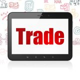 Finance concept: Tablet Computer with Trade on display. Finance concept: Tablet Computer with  red text Trade on display,  Hand Drawn Business Icons background Royalty Free Stock Images