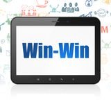 Finance concept: Tablet Computer with Win-Win on display. Finance concept: Tablet Computer with  blue text Win-Win on display,  Hand Drawn Business Icons Stock Images