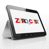 Finance concept: Tablet Computer with Zero cost on  display. Finance concept: Tablet Computer with Painted multicolor text Zero cost on display, 3D rendering Royalty Free Stock Photography