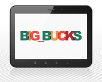 Finance concept: Tablet Pc Computer with Big bucks on  display. Finance concept: Tablet Pc Computer with Painted multicolor text Big bucks on display, 3D Royalty Free Stock Photo