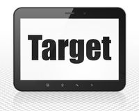 Finance concept: Tablet Pc Computer with Target on display. Finance concept: Tablet Pc Computer with black text Target on display, 3D rendering Stock Photo