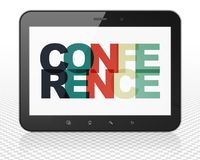 Finance concept: Tablet Pc Computer with Conference on  display. Finance concept: Tablet Pc Computer with Painted multicolor text Conference on display, 3D Royalty Free Stock Photography
