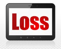 Finance concept: Tablet Pc Computer with Loss on display. Finance concept: Tablet Pc Computer with red text Loss on display, 3D rendering Royalty Free Stock Photography