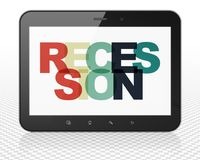 Finance concept: Tablet Pc Computer with Recession on  display. Finance concept: Tablet Pc Computer with Painted multicolor text Recession on display, 3D Royalty Free Stock Images