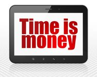 Finance concept: Tablet Pc Computer with Time is Money on display. Finance concept: Tablet Pc Computer with red text Time is Money on display, 3D rendering Stock Photo