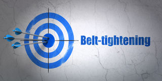 Finance concept: target and Belt-tightening on wall background Royalty Free Stock Photography