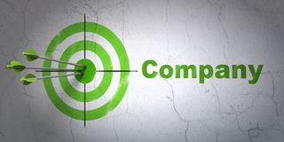 Finance concept: target and Company on wall background. Success finance concept: arrows hitting the center of target, Green Company on wall background, 3D Stock Photos