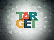Finance concept: Target on Digital Data Paper background. Finance concept: Painted multicolor text Target on Digital Data Paper background with  Hand Drawn Stock Photography
