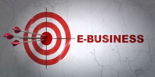 Finance concept: target and E-business on wall background. Success finance concept: arrows hitting the center of target, Red E-business on wall background, 3D Royalty Free Stock Image