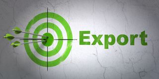 Finance concept: target and Export on wall background. Success finance concept: arrows hitting the center of target, Green Export on wall background, 3D Royalty Free Stock Photography