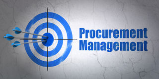 Finance concept: target and Procurement Management on wall background. Success finance concept: arrows hitting the center of target, Blue Procurement Management Stock Photos