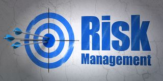 Finance concept: target and Risk Management on wall background. Success finance concept: arrows hitting the center of target, Blue Risk Management on wall Royalty Free Stock Photo