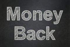 Finance concept: Money Back on chalkboard background. Finance concept: text Money Back on Black chalkboard background Stock Photos