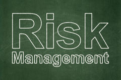 Finance concept: Risk Management on chalkboard background. Finance concept: text Risk Management on Green chalkboard background Stock Photos