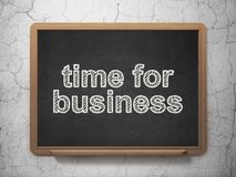 Finance concept: Time for Business on chalkboard background. Finance concept: text Time for Business on Black chalkboard on grunge wall background, 3D rendering Stock Photography