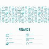 Finance concept with thin line icons. Safe, credit card, piggy bank, wallet, currency exchange, hammer, agreement, handshake, atm slot. Modern vector Stock Photos
