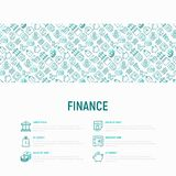 Finance concept with thin line icons. Safe, credit card, piggy bank, wallet, currency exchange, hammer, agreement, handshake, atm slot. Modern vector Stock Photo
