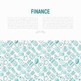 Finance concept with thin line icons. Safe, credit card, piggy bank, wallet, currency exchange, hammer, agreement, handshake, atm slot. Modern vector Stock Photography