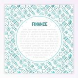Finance concept with thin line icons. Safe, credit card, piggy bank, wallet, currency exchange, hammer, agreement, handshake, atm slot. Modern vector Royalty Free Stock Images