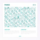 Finance concept with thin line icons. Safe, credit card, piggy bank, wallet, currency exchange, hammer, agreement, handshake, atm slot. Modern vector Royalty Free Stock Photos
