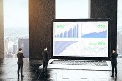 Finance concept. Three thoughtful tiny businessmen looking at laptop with business charts at workplace with city view. Finance concept. 3D Rendering Royalty Free Stock Photos